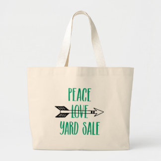 Peace Love Yard Sale Arrow Line Large Tote Bag
