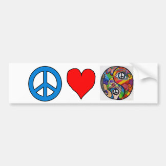 Peace, Love, Yin Yang Bumper Sticker
