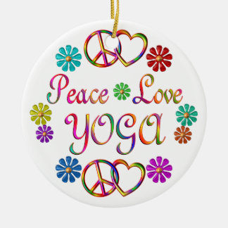 PEACE LOVE YOGA CERAMIC ORNAMENT
