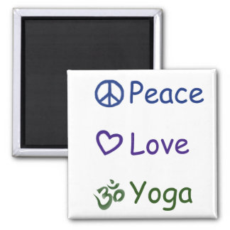 Peace Love Yoga Magnet