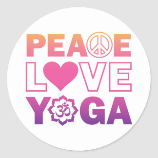 Peace Love Yoga Round Sticker