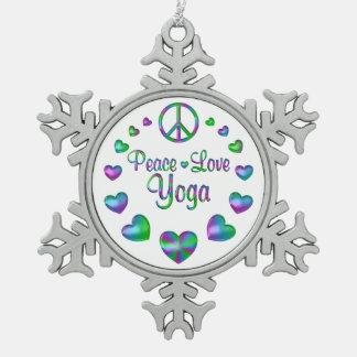 Peace Love Yoga Snowflake Pewter Christmas Ornament
