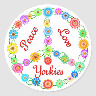 Peace Love Yorkies Classic Round Sticker