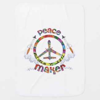 Peace Maker, hippie military drone funny Baby Blanket
