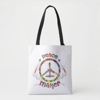 Peace Maker, hippie military drone funny Tote Bag