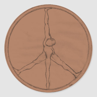 Peace Man bronze round button Classic Round Sticker