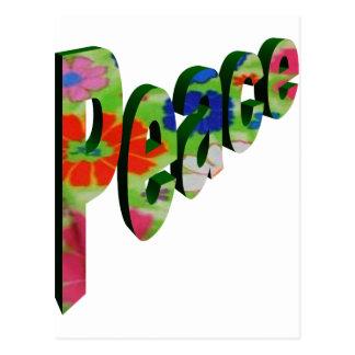 Peace Neon Flowers Postcard