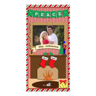 Peace • Night Before Christmas Spirit • 2 Stocking Personalized Photo Card