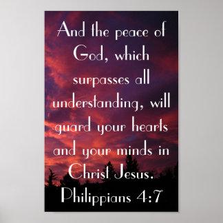 Peace of God bible verse Philippians 4:7 Poster