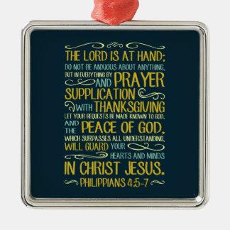 Peace of God Philippians 4:5-7 Silver-Colored Square Decoration