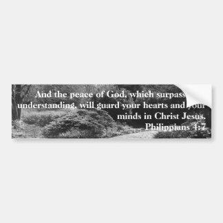 Peace of God Philippians 4:7 Black White Garden Bumper Sticker