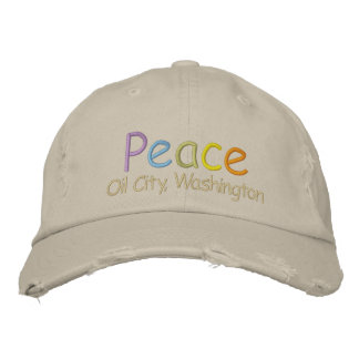 Peace Oil City, Washington Hat Embroidered Hat