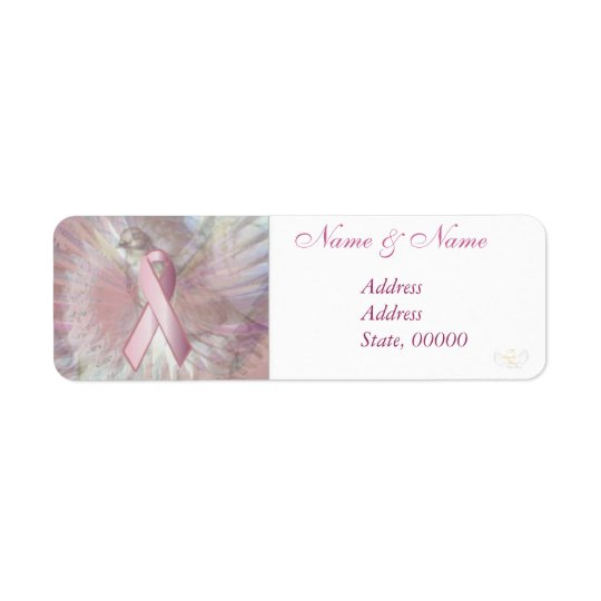 Peace On Angelic Wings Pink Ribbon Address Label