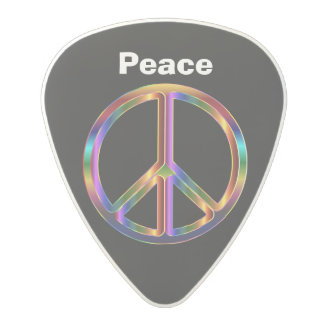 Peace on Black Background Polycarbonate Guitar Pick