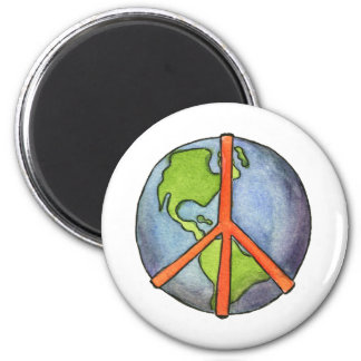 Peace On Earth 6 Cm Round Magnet