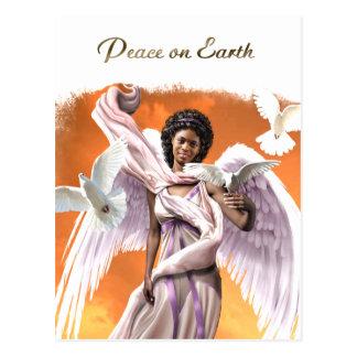 Peace on Earth Afro Angel Christmas Postcards