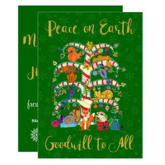 Peace on Earth Animal Tree of Life Custom Holiday Card