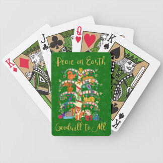 Peace on Earth Animal Tree of Life Holiday Bicycle Playing Cards