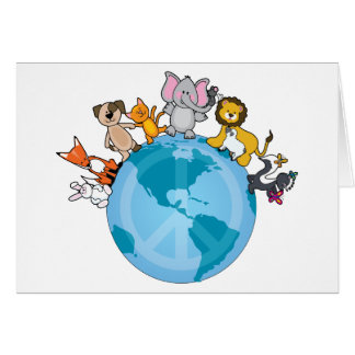 Peace On Earth Animals Greeting Cards