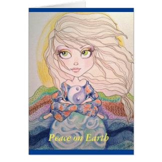 Peace On Earth Big Eye Girl Holiday Greeting Card