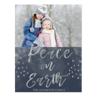 Peace on Earth Blue and Silver Watercolor Photo Postcard