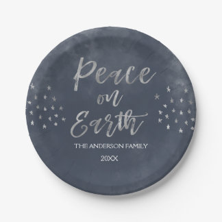 Peace on Earth Blue and Silver Watercolor Plates