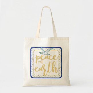 Peace on Earth Blue Gold Green Watercolor Tote Bag