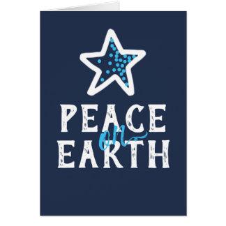 Peace on Earth Blue Holiday Card