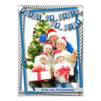 "Peace on Earth Blue Photo Card 5"" X 7"" Invitation Card"