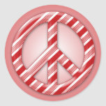 Peace on Earth Candy Cane Round Stickers