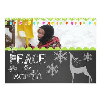 "Peace on Earth Chalkboard Holiday Photo Card 5"" X 7"" Invitation Card"