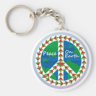 Peace on Earth Christmas Basic Round Button Key Ring
