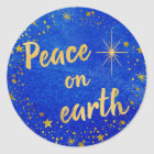 Peace on Earth Christmas Blue and Gold Classic Round Sticker