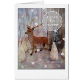 Peace on Earth Christmas Card with flocked deer
