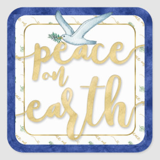 Peace on Earth Christmas Kwanzaa Hanukkah Square Sticker
