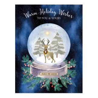 Peace on Earth Christmas Reindeer Snow Globe Postcard