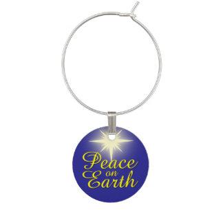 Peace on Earth Christmas Star Holiday Wine Charm