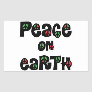 Peace On Earth Christmas Rectangular Stickers