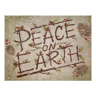 Peace On Earth Christmas Typography Poster