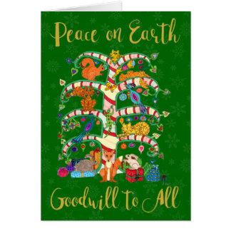 Peace on Earth Cute Animal Tree of Life Holiday Card