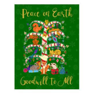 Peace on Earth Cute Animal Tree of Life Holiday Postcard