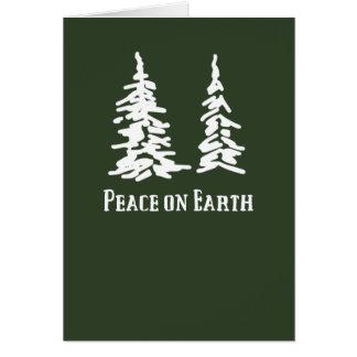 Peace on Earth Dark Green Holiday Card