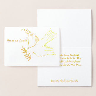 Peace On Earth Dove Olive Branch Holiday Greetings Foil Card