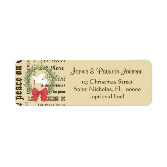 Peace on Earth Dove, Olive Leaves, Typography, Bow Return Address Label