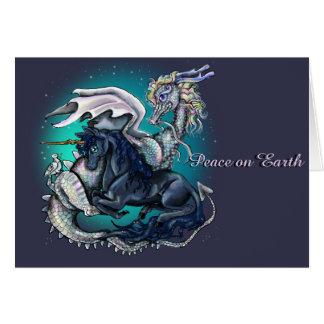 Peace On Earth Dragon and Unicorn Greeting Card