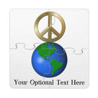 Peace on Earth Fun Rebus Style Word Puzzle Puzzle Coaster