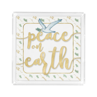 Peace on Earth Gold Watercolor Holiday Acrylic Tray