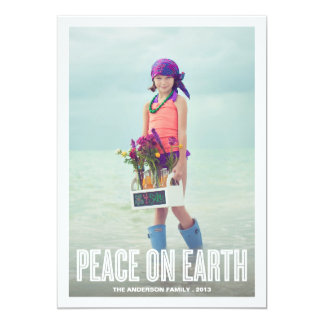 "PEACE ON EARTH | HOLIDAY PHOTO CARD 5"" X 7"" INVITATION CARD"