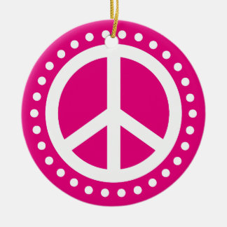 Peace on Earth Hot Pink and White Polka Dot Ceramic Ornament