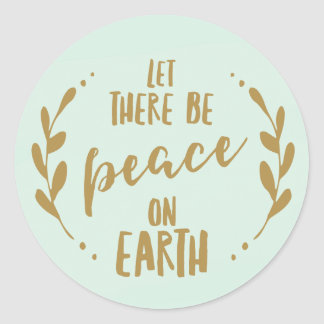 Peace on Earth, Mint and Gold | Holiday Seal Round Sticker